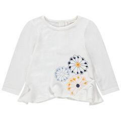 Jersey de punto con flores bordadas y cortes biselados