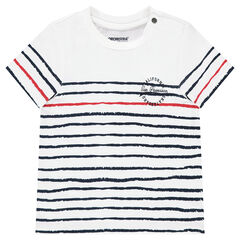 Camiseta de manga corta de jersey con rayas que contrastan