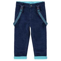 Pantalón de terciopelo con forro de punto y tirantes elásticos de rayas