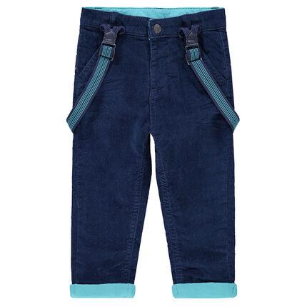 7646ed776 Pantalón de terciopelo con forro de punto y tirantes elásticos de ...