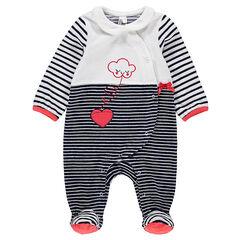 Pijama de terciopelo a rayas con nube bordada y corazón