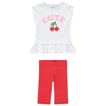 Conjunto con camiseta y dibujos de rizo con leggings cortos lisos