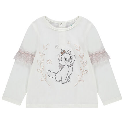 Camiseta de manga larga con volantes de tul e leopardo y María delos Aristogatos bordado Disney