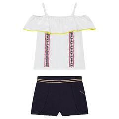 Júnior - Conjunto con camiseta con volantes y pantalón corto liso con cortes