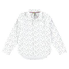 Camisa de manga larga de algodón con esquiadores estampados all over