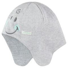 Gorro de punto con forro de tela con detalles bordados ©Smiley Baby