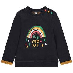 Sudadera de felpa con estampado de arcoíris