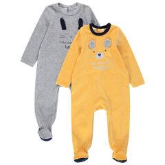 Juego de 2 pijamas de terciopelo con animales estampados y orejas de relieve