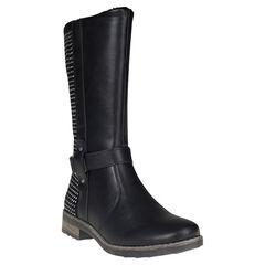 Botas de color negro con cremallera con strass