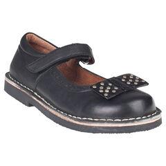 Zapatos merceditas de cuero de color negro con remaches con lazos