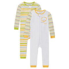 Pack de 2 pijamas de punto sin pies con cremallera y león estampado