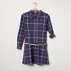 Júnior - Vestido de manga larga de cuadros con cinturón brillante
