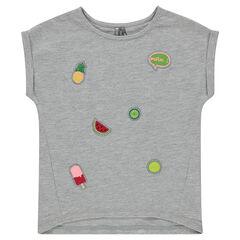 Camiseta de manga corta con parches bordados