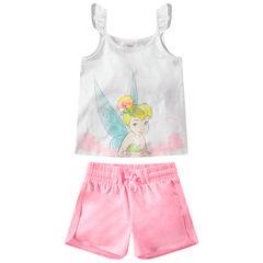 Conjunto de camiseta y pantalón corto con estampado de Campanilla ©Disney