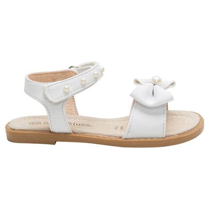Sandalias de cuero con perlas de fantasía y lazo