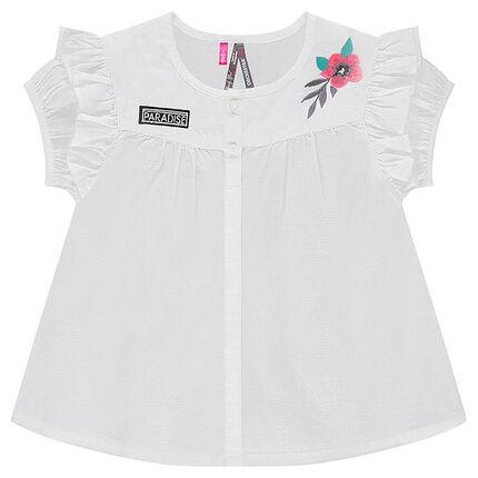 Camisa de manga corta de algodón con flor bordada y volantes