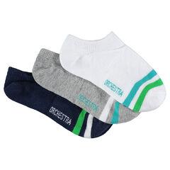 Juego de 3 pares de calcetines cortos con bandas en contraste