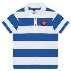 Polo de manga corta con bandas que contrastan y parche de logo ©Warner Superman