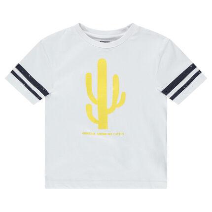 Camiseta de manga corta con bandas y cactus estampados