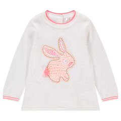 Jersey de punto con conejo bordado y aplicaciones de encaje