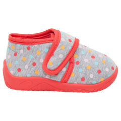 Zapatillas con botines con velcro y dibujo de lunares all over