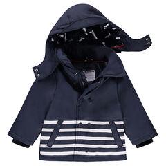 Parka acolchada de goma con forro de jersey y capucha desmontable