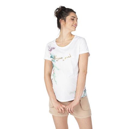 Camiseta de manga corta de premamá con estampado floral