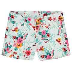 Pantalón corto con flores estampadas e estilo tropical