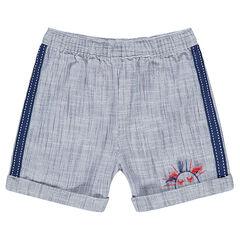 Pantalón corto de punto mezclado con bandas aplicadas y bordados