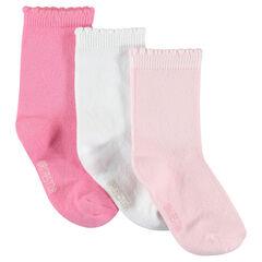 Lote de 3 pares de calcetines de color uniforme
