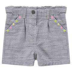Pantalón corto de algodón de fantasía y dibujos de colores bordados