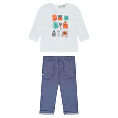 Conjunto de camiseta de manga larga con estampado y pantalón de cambray