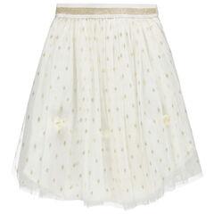 Falda larga de tul con lunares dorados