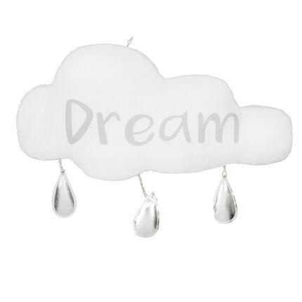 Suspensión en forma de nube con gotas y mensaje