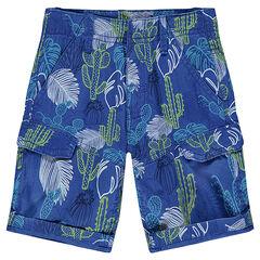 Bermudas de twill con bolsillos y estampado vegetal
