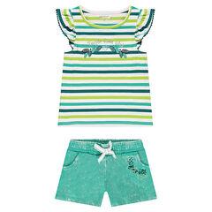 Conjunto con camiseta de rayas y pantalón corto de muletón teñido
