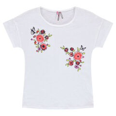 Camiseta de manga corta con flores bordadas