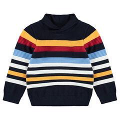 Jersey de punto con cuello subido y rayas que contrastan de jacquard