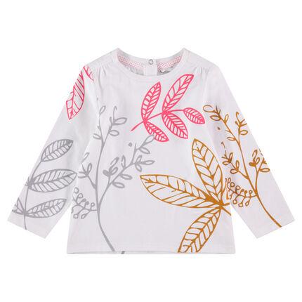 Camiseta de manga larga con estampado vegetal que contrasta