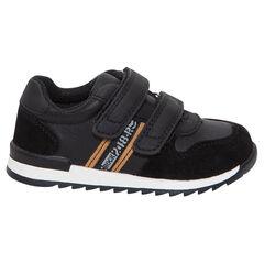 Zapatillas deportivas bajas con velcros y franjas en contraste