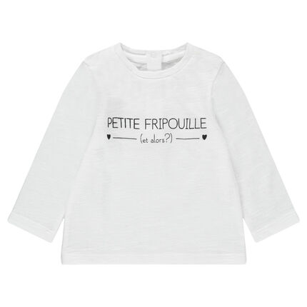 Camiseta de punto de manga larga con mensaje estampado