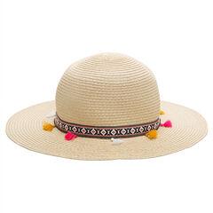 Sombrero de paja con etiqueta con pompones
