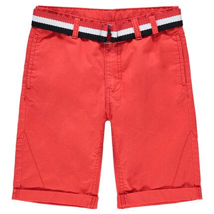 Júnior - Bermudas de algodón teñido con cinturón tricolor desmontable