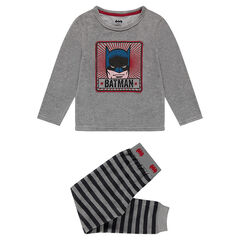 Pijama de terciopelo con estampado ©Warner Batman y parte inferior de rayas