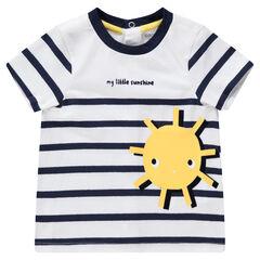 Camiseta de manga corta a rayas con sol estampado