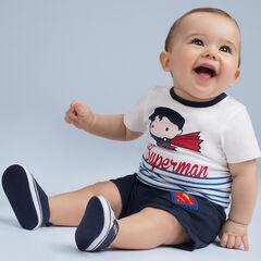 Conjunto de punto con camiseta con estampado ©Warner/Chibi Superman y bermudas