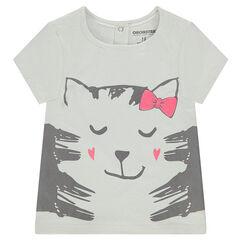 Camiseta de manga corta de punto y estampado de fantasía