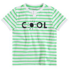 Camiseta de manga corta con rayas que contrastan all over