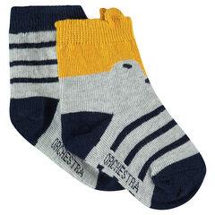Juego de 2 pares de calcetines de rayas de jácquard