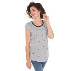 Camiseta premamá de manga corta con lunares y rayas